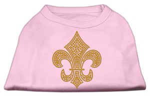 Gold Fleur De Lis Rhinestone Shirts Light Pink XXL